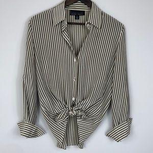 Vintage Ellen Tracy Gold Stripe Silk Top size 6